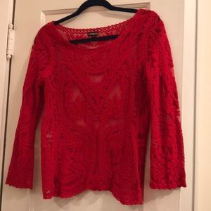 Express Tops - Express See-through Embroidered Red Longsleeve Top